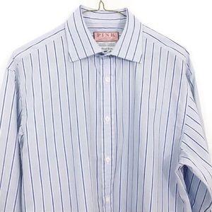Thomas Pink Striped French Cuff Long Sleeve Shirt